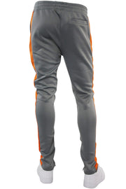 Solid One Stripe Track Pants Grey - Orange (100-402) - Zamage