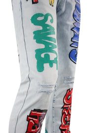 Money Dreams Graffiti Skinny Fit Denim Light Blue Wash (HZW9446) - Zamage