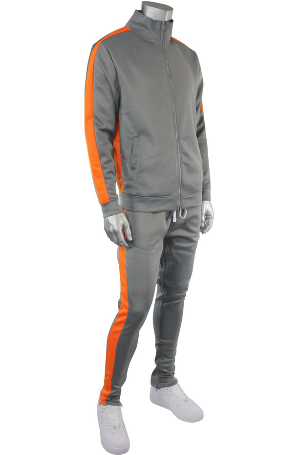 Solid One Stripe Track Jacket Grey - Orange (100-502)