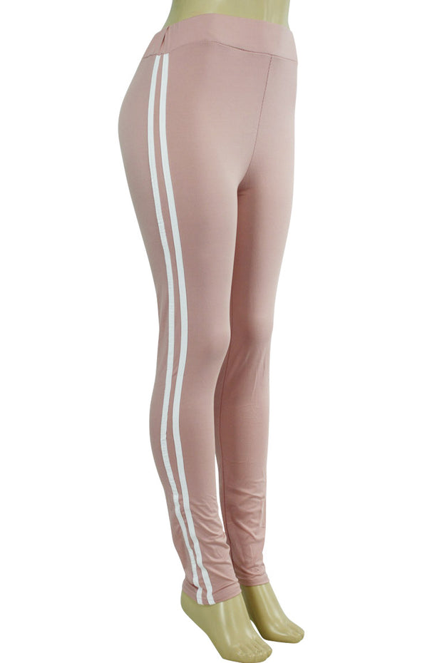 Side Stripe Leggings Mauve - White (MADISON-84)