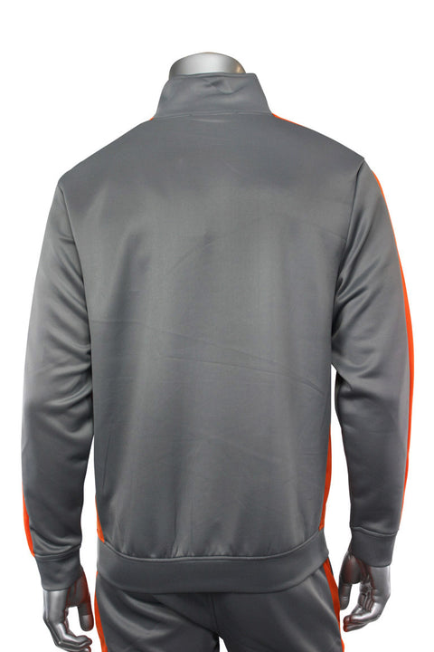 Solid One Stripe Track Jacket Grey - Orange (100-502) - Zamage