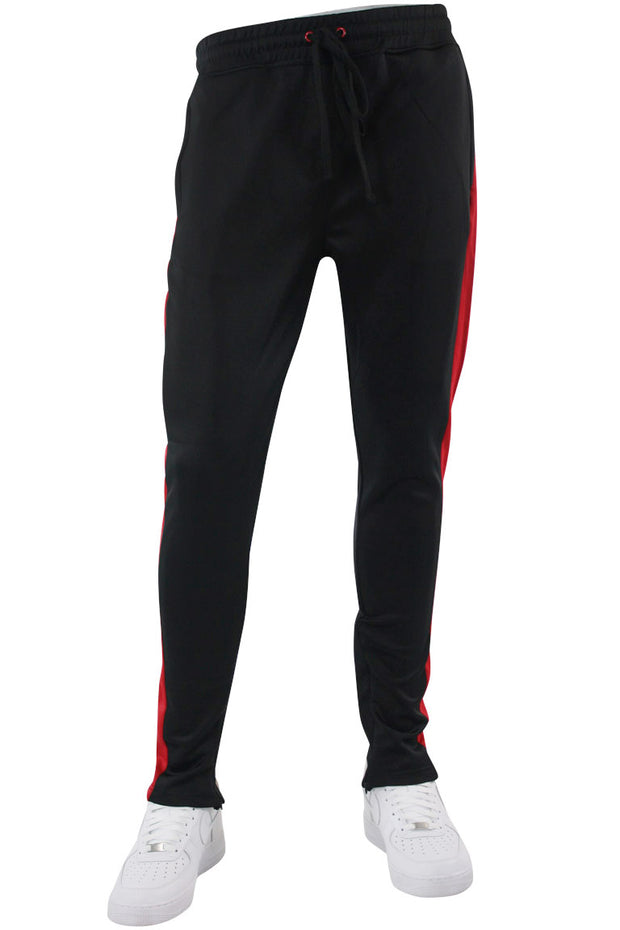 Solid One Stripe Track Pants Black - Red (100-401)