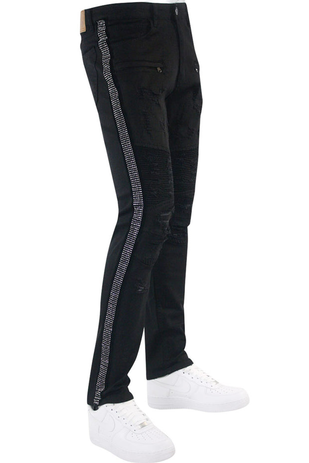 Moto Rhinestone Skinny Fit Denim Black - White (M4935TA) - Zamage