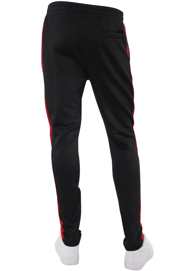 Solid One Stripe Track Pants Black - Red (100-401) - Zamage