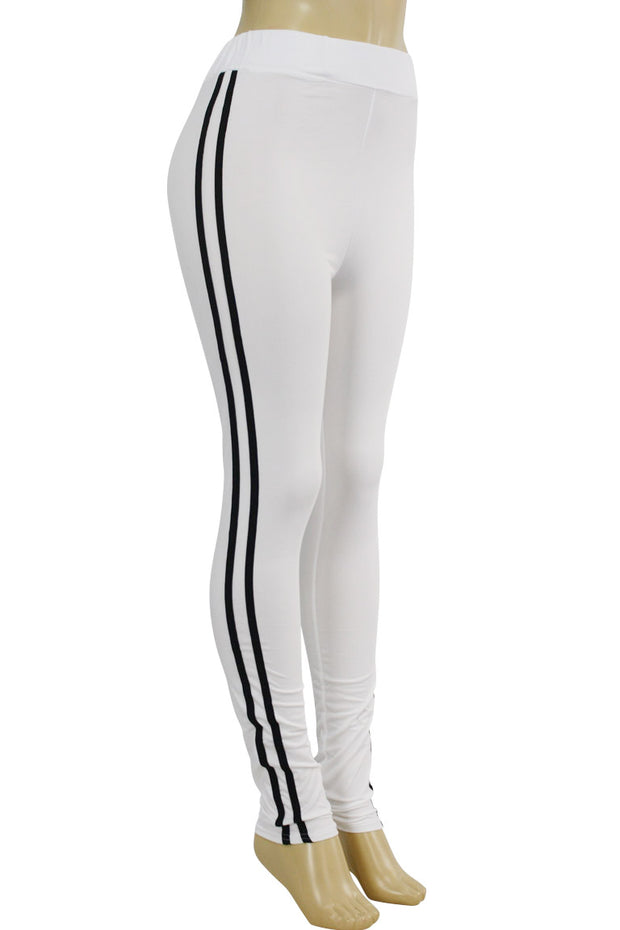 Side Stripe Leggings White - Black (MADISON-84)