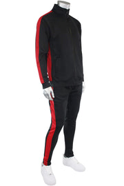 Solid One Stripe Track Jacket Black - Red (100-501)