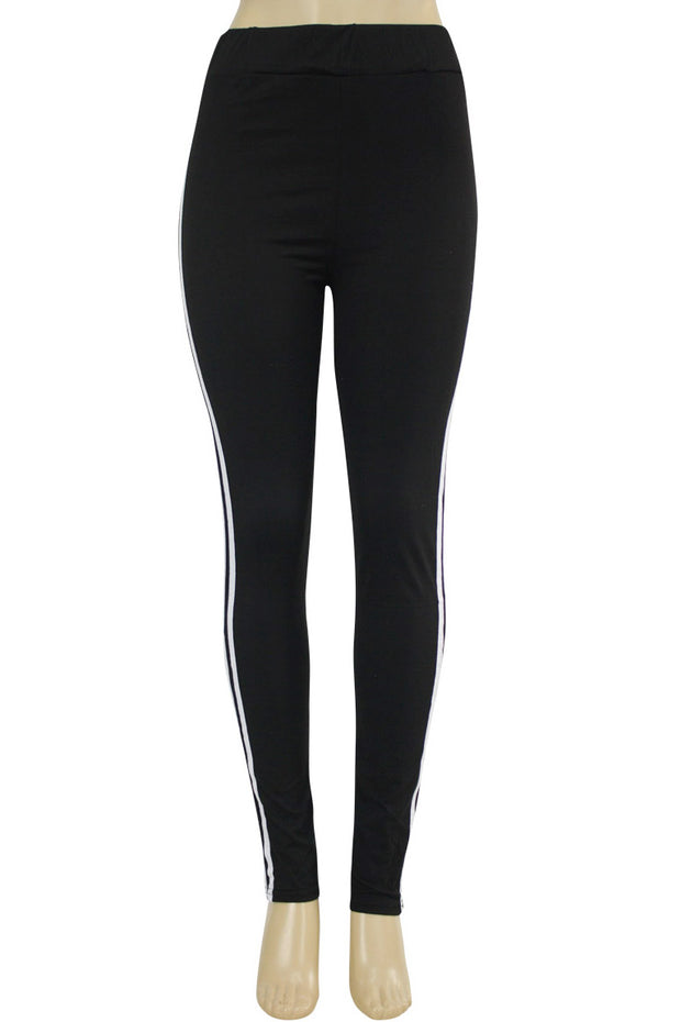 Side Stripe Leggings Black - White (MADISON-84)