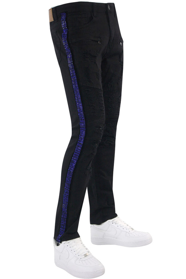 Moto Rhinestone Skinny Fit Denim Black - Blue (M4935TA) - Zamage