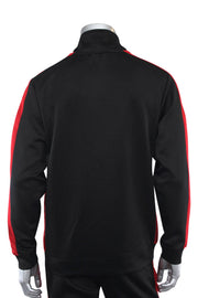 Solid One Stripe Track Jacket Black - Red (100-501) - Zamage