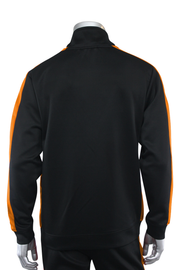 Solid One Stripe Track Jacket Black - Orange (100-501) - Zamage