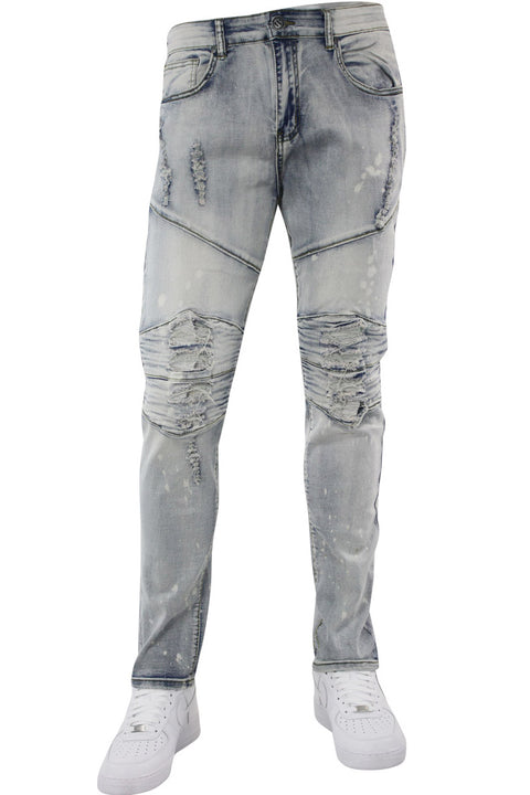 Premium Patched Skinny Fit Denim Antique Bleach Wash (M4661D) - Zamage