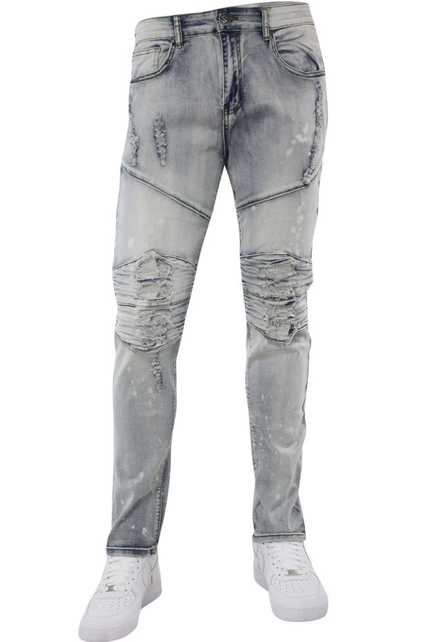 Premium Patched Skinny Fit Denim Antique Bleach Wash (M4661D)