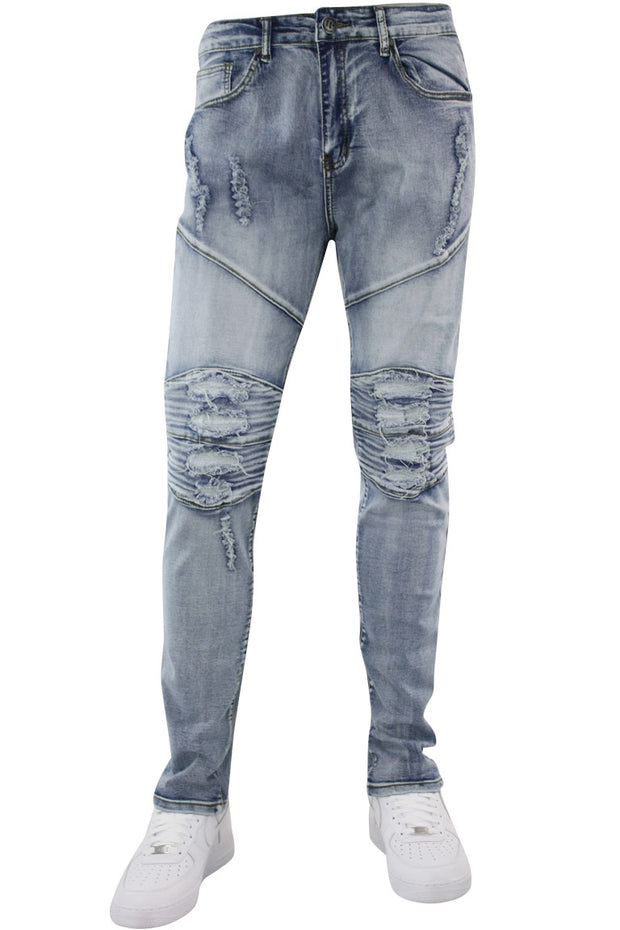 Destroyed Ribbed Skinny Fit Denim Light Indigo Brush (AOM4661D) - Zamage