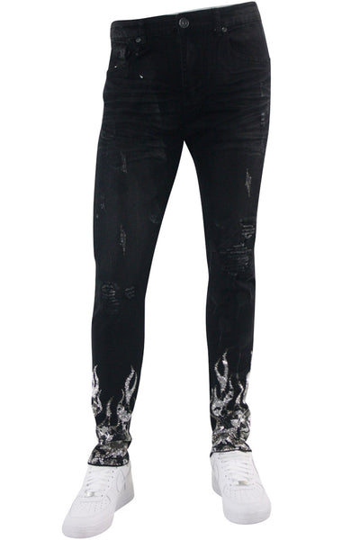 Rhinestone Fire Skinny Fit Denim Black Wash (M5080D) - Zamage
