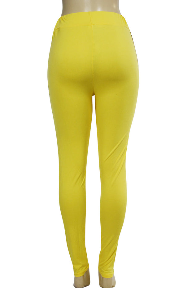 Side Stripe Leggings Yellow - Black (MADISON-84)