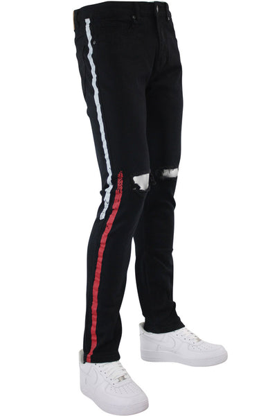 Painted Side Stripe Denim Track Pants Black - White - Red (M4695D) - Zamage