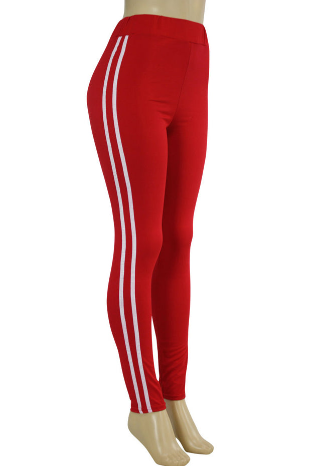 Side Stripe Leggings Red - White (MADISON-84)