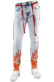 Fire Side Taping Skinny Fit Denim Snow Wash - Red (HZW8448) - Zamage