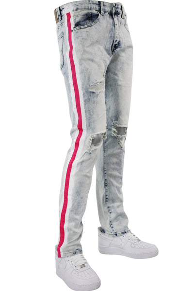 Side Paint Stripe Athletic Track Denim Snow Pink (M4700D) - Zamage