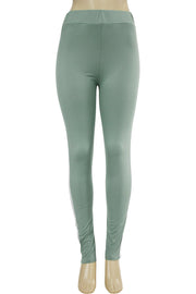Side Stripe Leggings Green - White (MADISON-84)