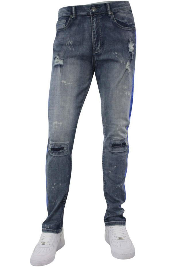 Side Stripe Distressed Skinny Fit Track Denim Blue Wash - Blue (M4708R1D)