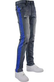 Side Stripe Distressed Skinny Fit Track Denim Blue Wash - Blue (M4708R1D) - Zamage