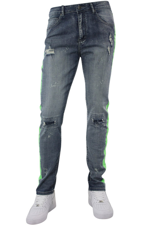 Side Stripe Distressed Skinny Fit Track Denim Blue Wash - Green (M4708R1D) - Zamage