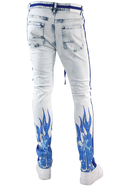 Fire Side Taping Skinny Fit Denim Snow Wash - Royal Blue (HZW8448) - Zamage
