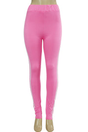 Side Stripe Leggings Hot Pink - White (MADISON-84)