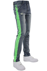 Side Stripe Distressed Skinny Fit Track Denim Blue Wash - Green (M4708R1D)