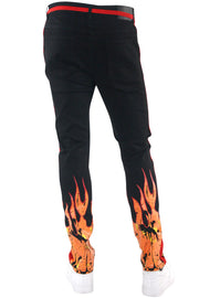 Fire Side Taping Skinny Fit Denim Black - Red (HZW8448) - Zamage