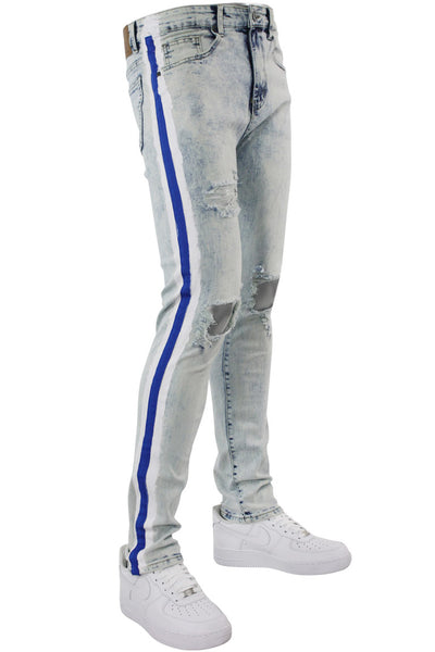 Side Paint Stripe Athletic Track Denim Snow Blue (M4700D) - Zamage