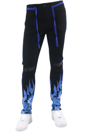 Fire Side Taping Skinny Fit Denim Black - Royal Blue (HZW8448 22S) - Zamage
