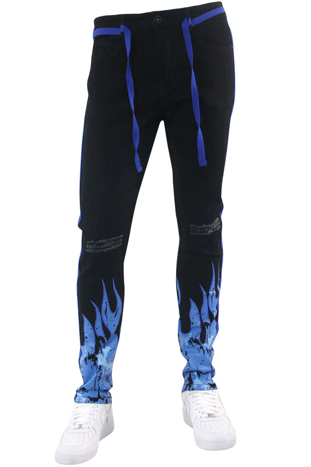 Fire Side Taping Skinny Fit Denim Black - Royal Blue (HZW8448) - Zamage