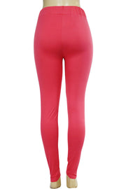 Side Stripe Leggings Coral - White (MADISON-84)