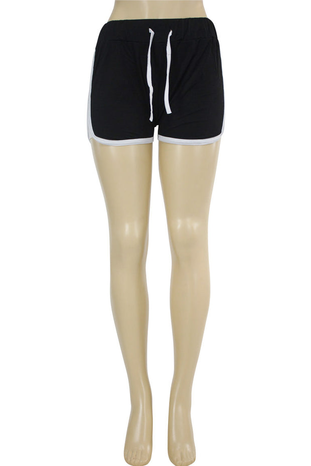 Women's Side Stripe Hot Shorts Black - White (ASHLEY-81)