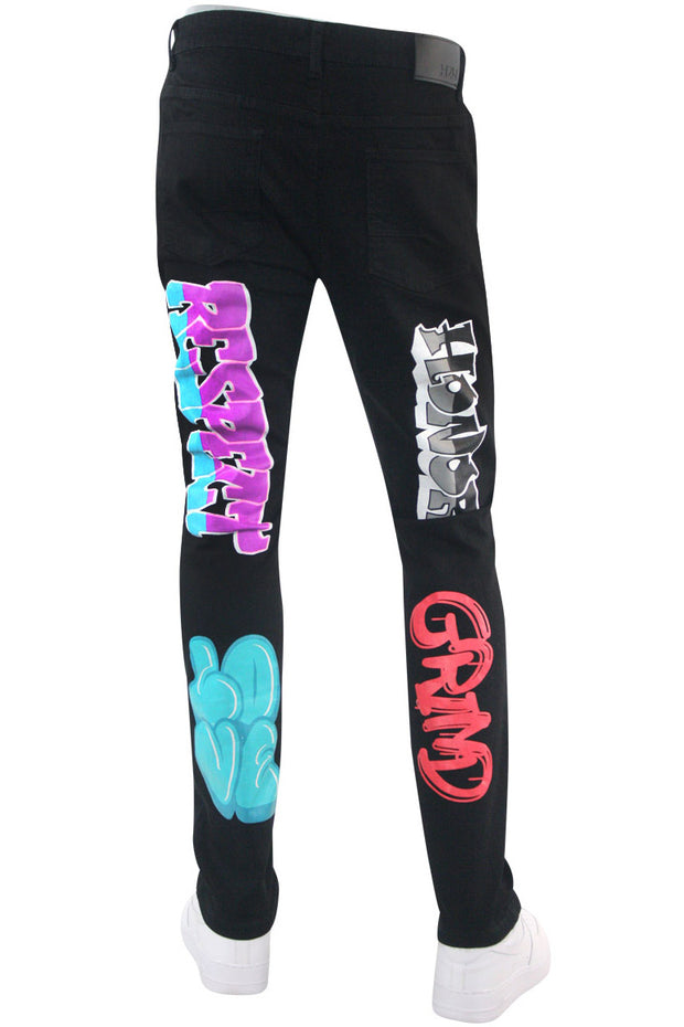 Money Dreams Graffiti Skinny Fit Denim Black (HZW9446) - Zamage