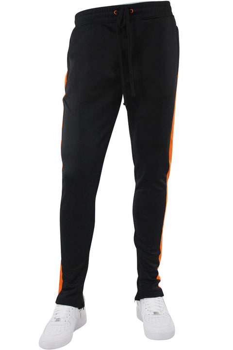Solid One Stripe Track Pants Black - Orange (100-401) - Zamage