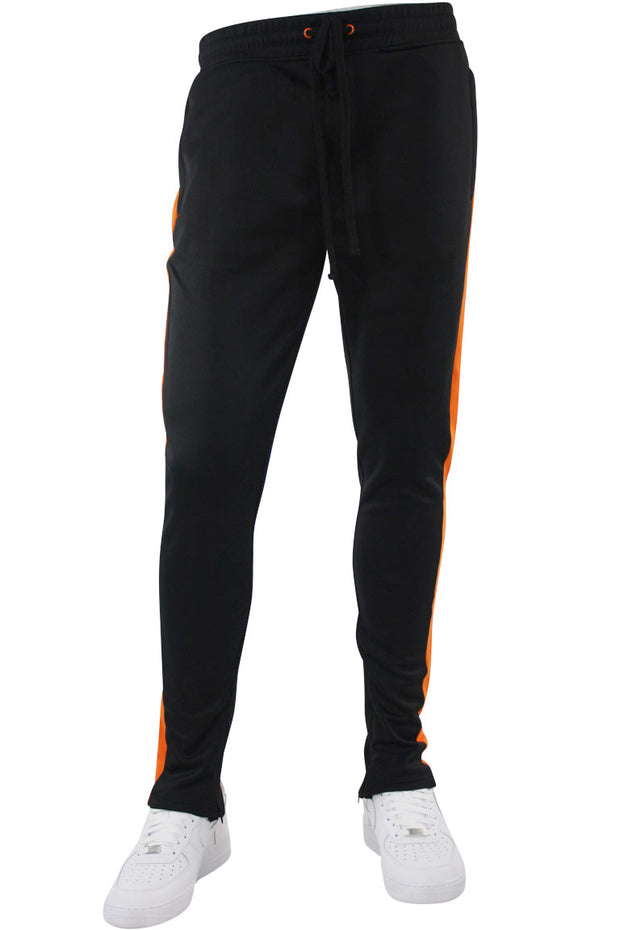 Solid One Stripe Track Pants Black - Orange (100-401)