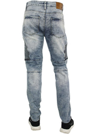 Bleached Moto Zip Slim Fit Denim Medium Blue (M4479D) - Zamage