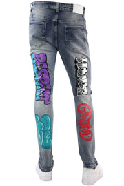 Money Dreams Graffiti Skinny Fit Denim Medium Blue Wash (HZW9446) - Zamage