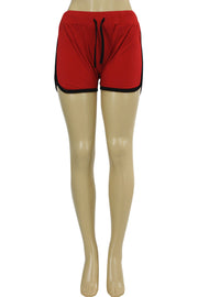Women's Side Stripe Hot Shorts Red - Black (ASHLEY-81)