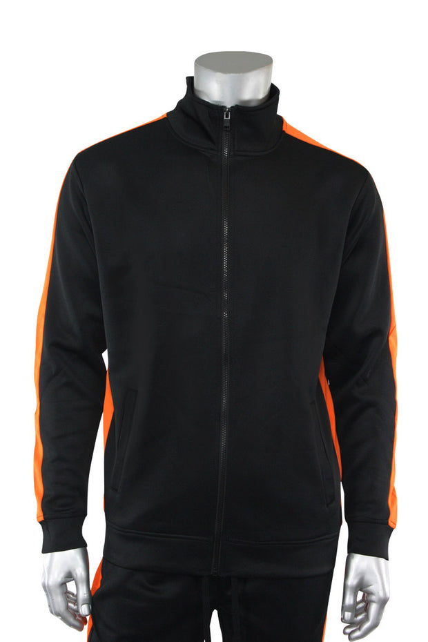 Solid One Stripe Track Jacket Black - Orange (100-501)