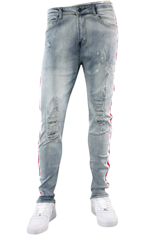 Side Paint Stripe Track Denim Stone Wash - Red (ZCM4764D) - Zamage