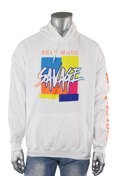 Self Made Savage Hoodie White (9157H)