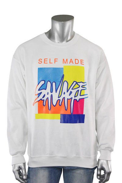 Self Made Savage Crewneck White (9157CF) - Zamage