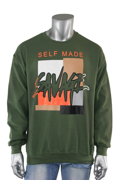Self Made Savage Crewneck Olive (9157CF) - Zamage