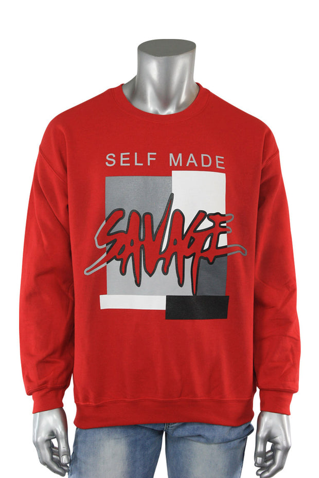 Self Made Savage Crewneck Red (9157CF) - Zamage
