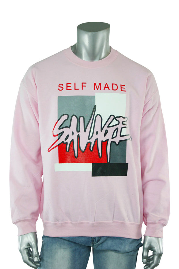Self Made Savage Crewneck Pink (9157CF) - Zamage