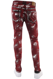 Destroyed Paint Splatter Skinny Fit Denim Red - Silver (M5050D) - Zamage